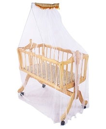 Fab N Funky - Checks Print Wooden Baby Bed