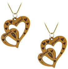 Angel Glitter - Set Of Two Heart Design Pendant With Chain - Set Of 2