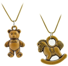 Set Of Two Teddy And Horse Design Pendant With Chain Set Of 2, Attractive And Antique Fashion Pendant With Bronze Chain