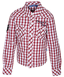 Dreamszone - Full Sleeves Cotton Casual Red Check Shirt
