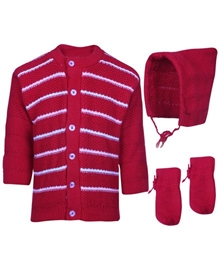 Baby Hug - Pack Of Striped Sweater Cap And Booties
