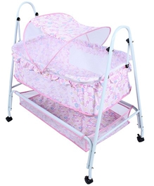 Fab N Funky - Baby Cradle With Mosquito Net On Wheels Pink
