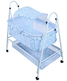 Fab N Funky - Baby Cradle With Mosquito Net On Wheels Blue