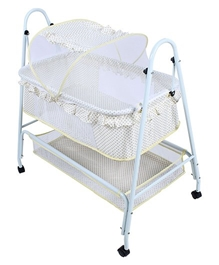 Fab N Funky - Swinging Cradle With Mosquito Net On Wheels Off White