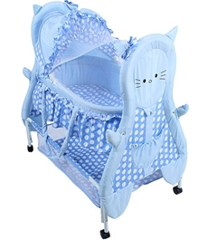 Fab N Funky - Cradle With Mosquito Net Kitty Print Blue