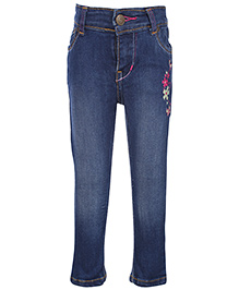 Dreamszone - Fixed Waist Denim Jeans With Embroidery