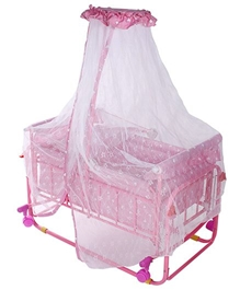 Fab N Funky Swinging Cradle With Mosquito Net On Wheels Pink