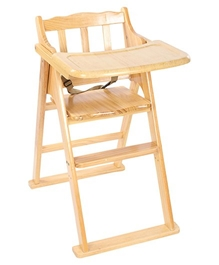 Fab N Funky - Wooden High Chair With Safety Belt Brown