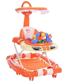 Fab N Funky - Baby Walker With Shade And Push Handle Orange