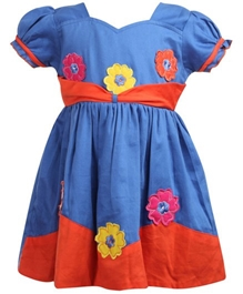 Baby Hug - Short Sleeves Floral Patch Work Frock