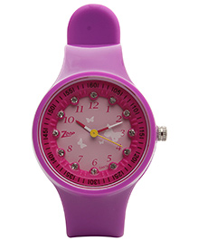 Titan - Zoop Kids Butterfly Print Purple Analog Watch