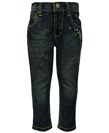 Palm Tree - Fixed Waist Denim Jeans With Embroidery