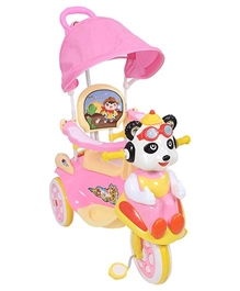 Fab N Funky - Tricycle With Push Handle And Canopy Animal Shape Pink