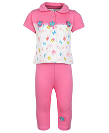 Flower Patch Half Sleeves Top With Legging Set Medium, 6 - 12 Months, Soft comfortable cotton set and suit for your cute...
