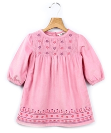 Beebay - Long Sleeves Smocked Embroidered Cord Dress