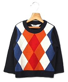 Beebay - Full Sleeves Diamond Pattern Sweater