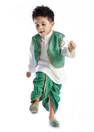 DotnDitto - Exclusive Dhoti Kurta And Jacket  Set Green