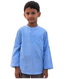 ShopperTree - Full Sleeves Blue Short Kurta