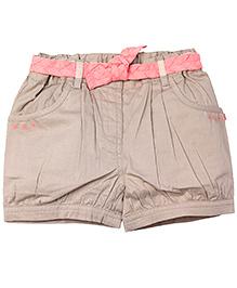 Shopper Tree Cream Shorts - Pink Fabric Belt