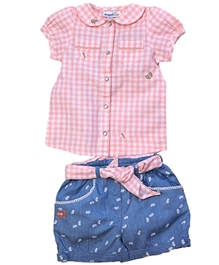 ShopperTree - Check Print Top And Denim Shorts Set