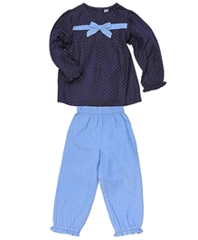 Polka Dots Top And Frill Hem Legging Set 0 - 6 Months, Elegant rayon and silk denim top with legging set for your...