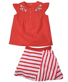 ShopperTree - Embroidered Top And Striped Skirt Set