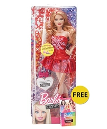 Barbie Fashionistas Doll Red 30 cm 3 Years+, FREE Barbie play with color nail polish with this doll