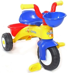 Fab N Funky Tricycle With Front And Rear Basket - Blue N Yellow
