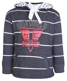Gini & Jony - Full Sleeves Striped Hooded Sweat Shirt