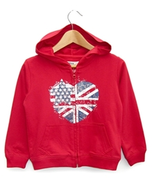 Beebay - Glitter Flag Heart Sweat Shirt With Hood