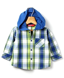 Beebay - Blue Checks Hooded Shirt
