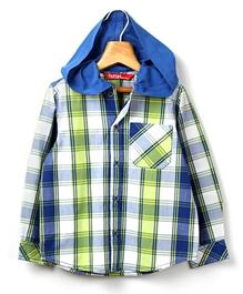 Beebay - Full Sleeves Hooded Shirt Checks Print