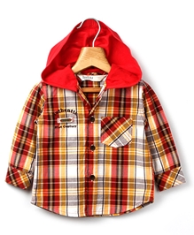 Beebay - Red Checks Hooded Shirt