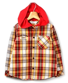 Beebay - Red Checks Hooded Shirt Team Leader Print