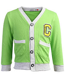 Baby Hug Full Sleeves Jacket With Front Pockets - Light Green