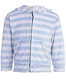 Baby Hug Full Sleeves Hooded Jacket Blue And White - Stripes Print