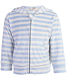 Baby Hug Full Sleeves Hooded Jacket With Front Pockets Blue And White - Stripes Print