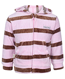 Baby Hug Full Sleeves Hooded Jacket With Front Pockets Pink And Brown - Stripes Print