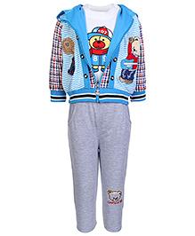Babyhug Hooded Jacket Printed T Shirt And Legging - Blue - Size 8