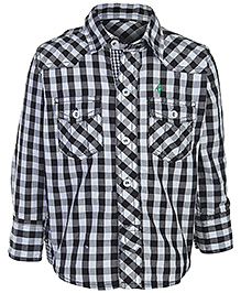 Palm Tree - Full Sleeves Checked Shirt With Patch Work Back