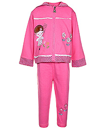 Babyhug Full Sleeves Hooded Jacket T-Shirt And Legging Set - Flower Applique