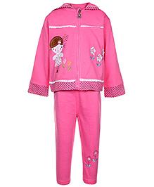 Baby Hug Full Sleeves Hooded Jacket T-Shirt And Legging Set - Dark Pink - Size 8
