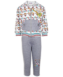 Babyhug Full Sleeves Jacket T Shirt And Legging Set - Teddy with Guitar Print