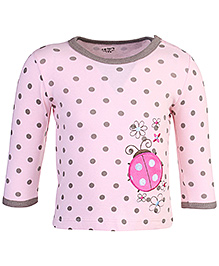 Carters - Full Sleeves Top With Shoulder Buttons Lady Bug Patch Pink