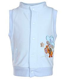 Sleeveless High Neck Jacket Blue - Machine Embroidery