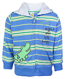 Carters Full Sleeves Hooded Jacket Blue And Green - Crocodile Patch