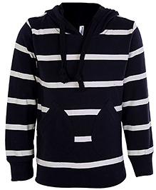 Babyhug Full Sleeves Stripes Print Sweatshirt - Side Pocket