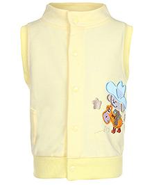 Carters Sleeveless High Neck Jacket Yellow - Machine Embroidery