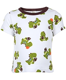 Carters Short Sleeves T Shirt Green And White - Dinosaur Print