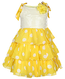 Softouch - Knotted Straps Frilled Frock with Rosette